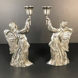 Silver Plated Angel Winged Candle Stick Holders